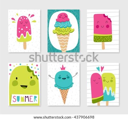 set cute creative card templates ice stock vector royalty free