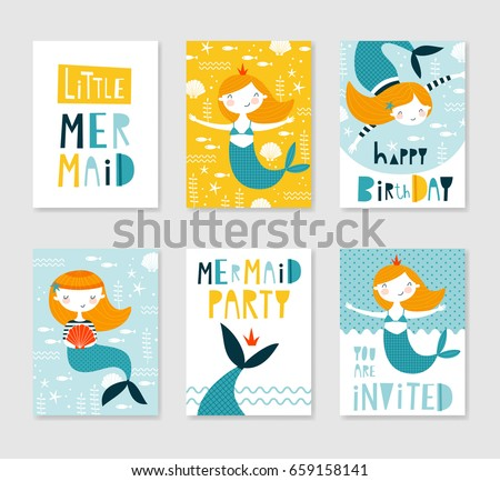 set cute creative card templates mermaid のベクター画像素材