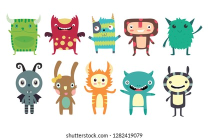 set of cute creatures