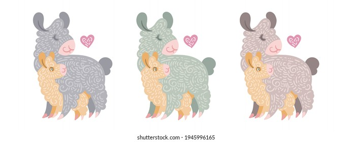Set of cute curly llamas mom with baby. Illustration in different colors for coloring pages, children and adult prints, Mother Day
