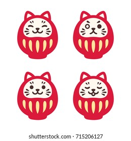 Set of cute Daruma dolls with cat face. Traditional Japanese good luck symbol. Simple and modern vector illustration.