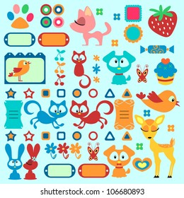 A set of cute decorative elements with animals