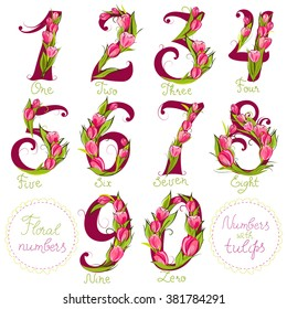 Set of cute decorative numbers, made with tulips, vector illustration
