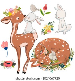 set with cute deer and hares