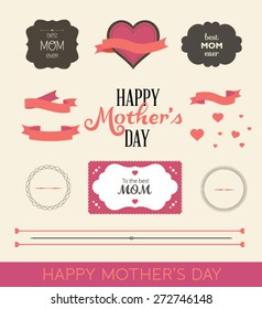 A set of cute design elements for Mother's Day. Vector illustration