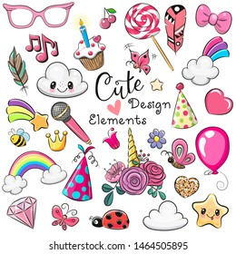 Set of Cute design elements on a white background