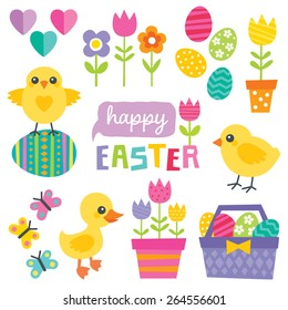 Set of cute design elements for spring and easter. Flat design, isolated on white. Chickens, duckling, eggs, tulips, flowers, basket, butterflies and text greeting. Great for cards and scrapbook.