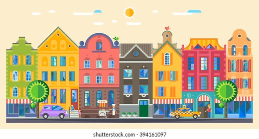 Set of cute detailed vector old city houses. European retro style building facades. Flat vector illustration.