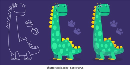 Set of cute dinosaur illustrations. Cartoon vector icons are suitable for cards, wallpapers, backgrounds, fabric and textile printing.