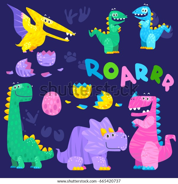 Set of cute dinosaur illustrations. Roarrr! Cartoon vector icons are suitable for cards, wallpapers, backgrounds, fabric and textile printing.