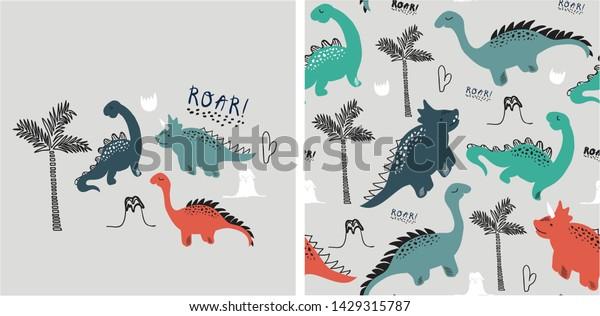 Set Cute Dinosaur Print Seamless Pattern Stock Vector (Royalty Free)  1429315787