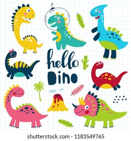 Set of cute dinosaurs for children print. Vector illustration