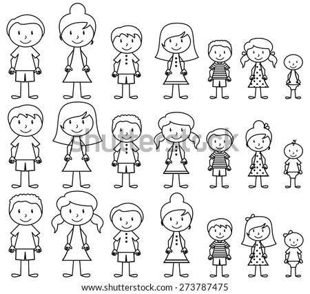 set cute diverse stick people vector のベクター画像素材
