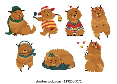 Set cute dog with different clothes. Funny character doggy for different seasons. Puppies with accessories, headphones, summer hats and flower wreaths.  Template illustration for postcard. Vector