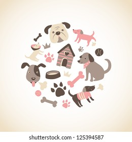 Set of cute doggy related icons arranged in a circle.