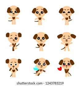Set of cute dogs character with different emotions. Vector cartoon puppy character. Vector collection.