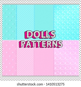 Set of cute dolls vector patterns. Printable A4 sheets striped, glitter scrapbook. Light pastel pink, turquoise blue mint green. Black and white polka dots background. Kids birthday party backdrop