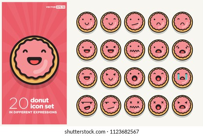Set of Cute Donut Emoji Line Icons In Different Expressions