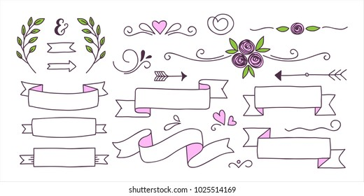 Set of cute doodle banners, floral elements and hearts for your design