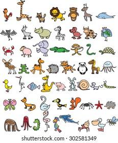 Set of cute doodle cartoon animals