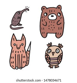 set of cute doodle cartoon forest heroes: owl, red fox, brown bear, gray muskrat