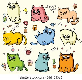 Set of cute doodle cats for kid's greeting card design, t-shirt print, inspiration poster.