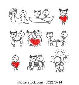 Set of cute doodle children. Happy St. Valentine Day.
