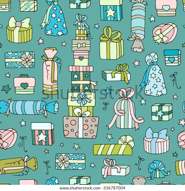 Set Cute Doodle Gift Boxes Birthday Stock Vector Royalty Free