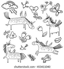 Set with cute doodle line art magic mythology unicorns in children's style. Collection with rainbow, clouds with rain, flowers, tulips, leaves, birds and butterflies isolated on white background
