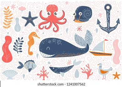 Set of cute doodle style sea characters. Illustrations for nursery decor, prints and posters. Vector