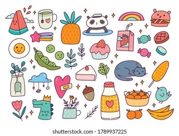 Set of cute doodle vector illustration