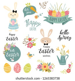 Set of cute Easter cartoon characters Rabbit Bunny flowers eggs ribbon typography spring quote and design elements in pastel colors for prints logo sign symbol posters card banner Vector illustration.