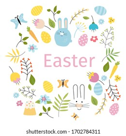 Set of cute easter cartoon characters and design elements. Easter bunny, eggs, twigs, butterflies, leaves, Easter cupcake, carrots, flowers. Vector illustration in doodle style.