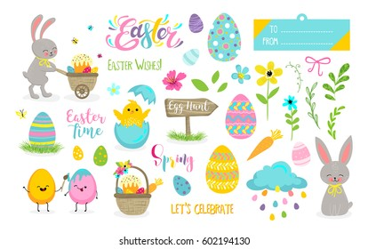 Set of cute Easter cartoon characters and scrapbooking elements. Easter bunny, chickens, flowers, lettering, kawaii eggs. Vector illustration.