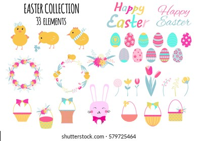 Set of cute Easter elements: chicks, eggs, baskets, easter bunny, flowers and wreaths. Vector illustration.