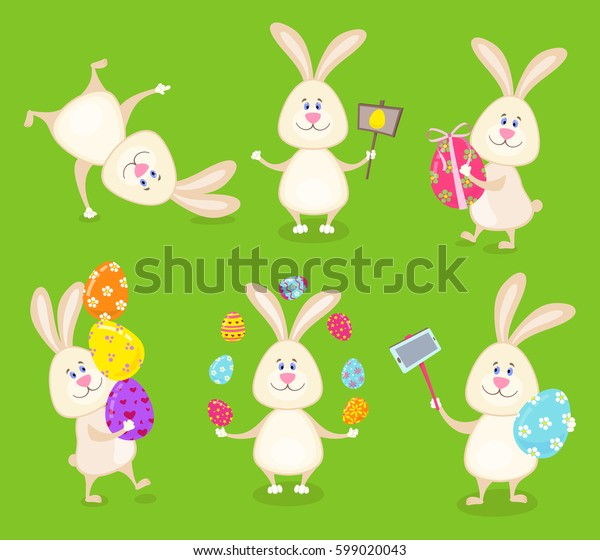Set of cute Easter rabbits with Easter eggs , carrots and banners. Cartoon style vector illustration