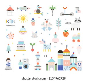 Set of cute elements. Different creative and fun graphic items. Poster for kids. Baby room decor. Vector