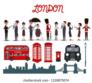 Set of cute elements of London and characters. Editable vector illustration