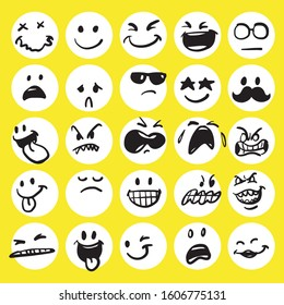Set of cute emoticon hand drawn with yellow background vector
