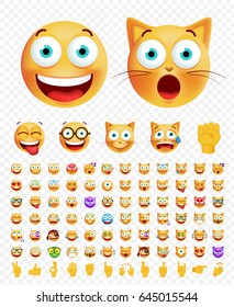 Set of Cute Emoticons on Transparent Background. Isolated Vector Illustration