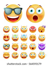 Set of Cute Emoticons on White Background. Isolated Vector Illustration