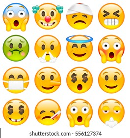 Set of Cute Emoticons. Sixteen Smile icon. Yellow Emojis. Scared, Clown, Damaged, Winking, Angry, Saint, Ashamed, Liar, Happy, Sick, Smoking. Isolated Illustration on White Background