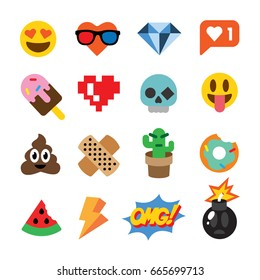 Set of cute emoticons, stickers, emoji design, isolated on white background, vector illustration.