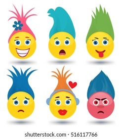 Set of Cute Emoticons with Trendy Hair. Emoji, Smiley Vector Characters