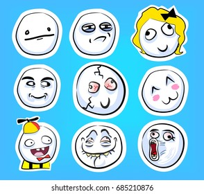 Set of cute emotional stickers with internet memes for everyday expressions in social media, chat, messages, mobile and web apps, internet communication and printed material.