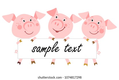 Set of cute fairy tale characters isolated on white. The three little pigs. Illustration for children. Cartoon character.  Place for your text.