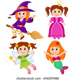 Set of cute fairytale girls. Halloween witch, mermaid, princess and fairy