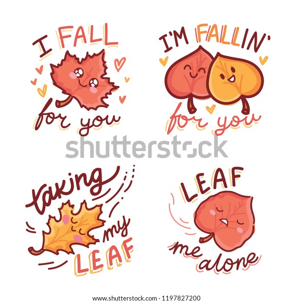 Set Cute Fall Autumn Puns Play Stock Vector (Royalty Free) 1197827200