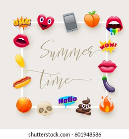 Set of Cute Fantastic Summer Time Smiley Emoticons, Chic Emoji Design Set. Bright Icons of Lips. Fire, Hello Expression, Cellphone, Eggplant, Peach, Hot Dog, Chicken Leg, Skulls. Stickers and Patches