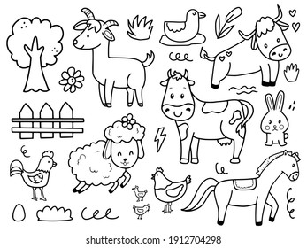 Set of cute farm animal illustration drawing cartoon for kids and baby